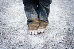 Child's dirty feet royalty free stock photo
