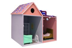 A Child`s doll house with furniture on a white background stock photos