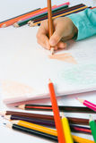 Child's drawing. Pencil hand house album illustration white Stock Photography