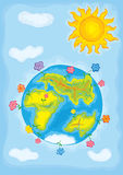 Child's drawing. A blossoming world royalty free illustration