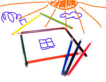 Child's drawing. The house built of pencils Stock Photo