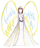 Child's drawing - angel with wings Stock Images