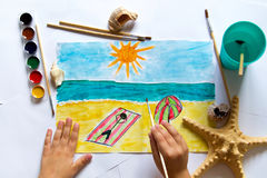 A child`s drawing. Aquarelle, the sea and the beach Stock Photo