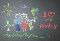 Child's drawing on the asphalt. family Royalty Free Stock Photo