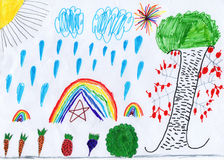 Child's drawing with autumn harvest Royalty Free Stock Images