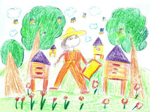 Child`s  drawing  beekeeper in a field holding honeycomb frame. And beehive Royalty Free Stock Image