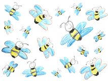 Child's drawing of bees. Cute illustration Royalty Free Illustration