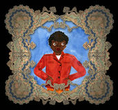 Child's drawing black boy . Child's drawing black boy in an elegant frame royalty free illustration
