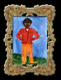 Child's drawing black boy . Child's drawing black boy in an elegant frame stock illustration