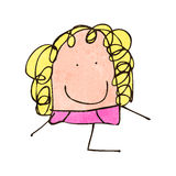 Child's drawing of a blond woman Stock Photo