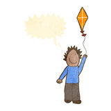 Child's drawing of a boy flying kite Stock Photography