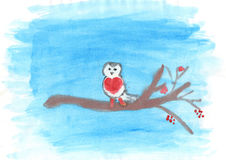 Child's drawing of bullfinch on the branch. Child's drawing of a small bullfinch on the branch in winter stock illustration