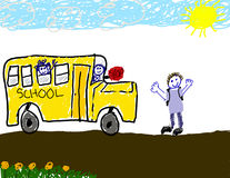 Child's drawing of bus ride to school. Child 's drawing of the bus ride to school Stock Photo