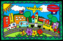 Child's drawing- busy town. Illustration of main street executed in childlike style vector illustration