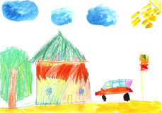 Child`s drawing car and country-house Stock Images