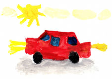 Child's Drawing Car Royalty Free Stock Photo