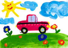 Child's drawing. car rides on a meadow Stock Photos