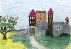 Child's drawing of castle. Made by child Royalty Free Stock Image