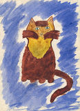 Child's drawing of cat. Royalty Free Stock Image