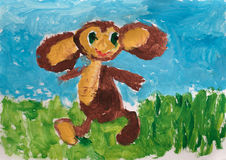 Child's drawing. Cheburashka Stock Photos