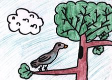 Child s drawing.Children`s pencil drawing of a bird in a tree vector illustration