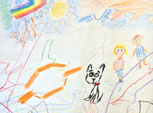Childs drawing; children and their dog royalty free stock image