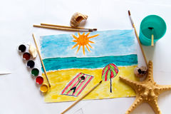 A child`s drawing Stock Photos