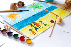 A child`s drawing Royalty Free Stock Photos