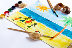 A child`s drawing Stock Photo
