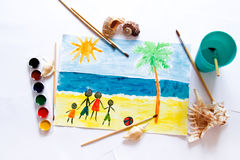 A child`s drawing Stock Photography