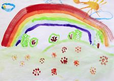 Child`s drawing of clearing with flowers rainbow and colored bushes. Bright summer. Childish art. Artwork drawn by watercolors. Children`s drawing water color stock photography