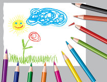 Child's drawing and colored pencils Stock Photography
