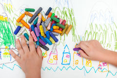 Child`s drawing. With colored pencils on background royalty free stock photography