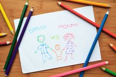 Child's drawing and colored pencils Stock Image