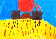 Child's drawing. Combine harvesting wheat. Royalty Free Stock Photos
