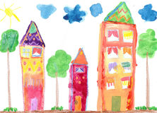 Child`s drawing. Country house and trees Stock Photos