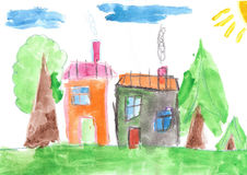 Child& x27;s drawing. Country house and trees Royalty Free Stock Photography