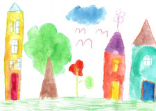 Child`s drawing. Country house and trees Stock Photography