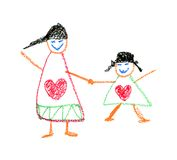 Child's Drawing by crayon vector illustration