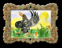 Child's drawing dancing birds. Child's drawing dancing in an elegant frame royalty free illustration