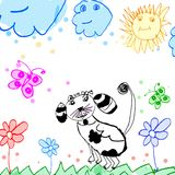 Child's drawing dog on a meadow Stock Images