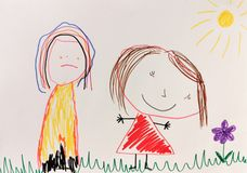 Child`s drawing doodle. A happy and a sad girl stock illustration