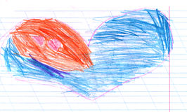 Child`s drawing of a drawn heart crayons. colored pencils. Kids drawing on white sheet of paper, closeup Stock Photography