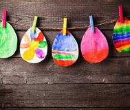 Child's drawing of Easter eggs Stock Photo