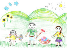 Childs drawing Easter Holiday. Childs drawing of the Easter. Boy and two girls on the grass with eggs Royalty Free Stock Image