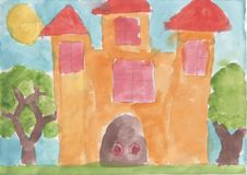 Childs drawing - fairy-tale castle royalty free stock images