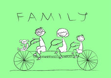 Child's drawing of the family on a bicycle,vector. Illustration picture Royalty Free Stock Image