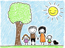 Childs drawing family Stock Photos