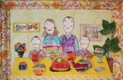 Child's drawing of family. Happy family with two children Royalty Free Stock Photos