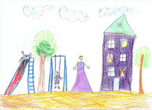 Child`s drawing family. House, trees and bench Stock Images
